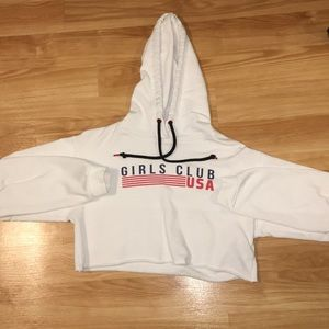 "White ""Girls Club USA"" cropped Hoodie"